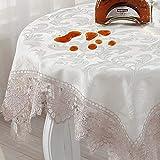 Aich Imperméable Nappes Dentelle,Crochet Table Cloth Café Floral Brodé Vintage Européen Housse de Table pour Le café à Manger Fin Table-Blanc 60x120cm(24x47inch)