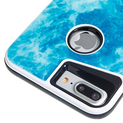 Marmor Pattern Dual Layer Hülle für iPhone 7 Plus, Sunroyal Scratch Resistant Case PC TPU Silikon Gel Ultra Slim Schutz Cover Schock-Beweis Bumper Etui Kratzfeste Dauerhaft Rundum-schutz Handyhülle fü Pattern #6