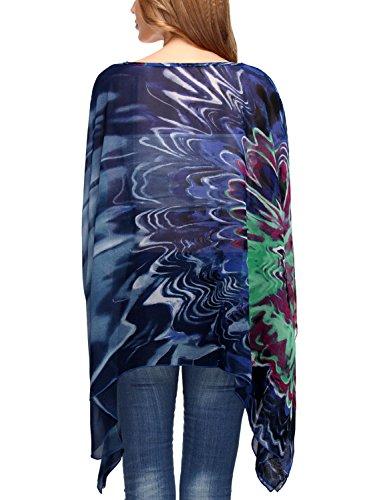DJT T-shirt Imprime Tops Manches Chauve-souris en Tulle pour Femme Bleu
