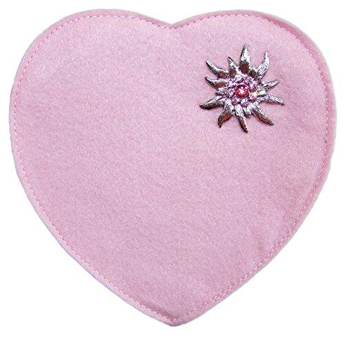 Herz Trachtentasche mit Edelweiß Rosa