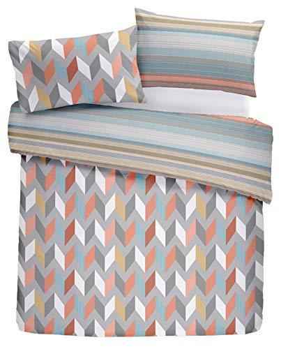 Geometrisch Zig Zag Barcode Streifen Orange Blau Grau Einzeln ( Plain Weiß Passendes Leintuch - 91 X 191cm + 25) 3 Stück Bettwäsche Set (Baumwolle Geometrische Tröster)