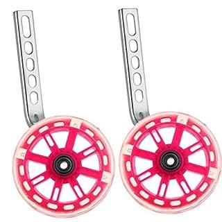PengXiang LED-Lichter Stützräder für Kinderfahrrad 12 14 16 18 20 Zoll, 1 Paar Sicherheitsstützräder - Rosa-B