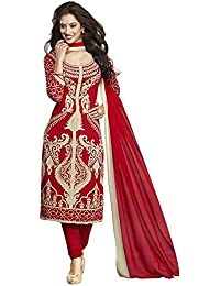 Globalia Creation Women's Cotton Suit Piece Salwar Suit Set (Gol-Buble_Red_Free Size)