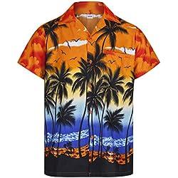 Redstar Fancy Dress - Camisa Hawaiana de Manga Corta - para Hombre - Palmeras - Todas Las Tallas - Naranja - 3XL