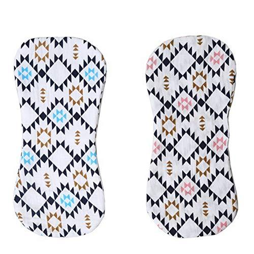 CDKJ 2 PCS Unisex neugeborenes Baby-Spucktuch geschwungenes Design Saliva Sweat Fabrics Kos Milch-einziehenden Mat weiche Babys Block Set (rosa/blau geometrische Muster)