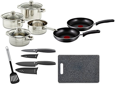 Mittleres Einsteigerpaket: ELO Topfset + Tefal Bratpfannenset + Pfannenwender + WMF Messerset + Schneidebrett