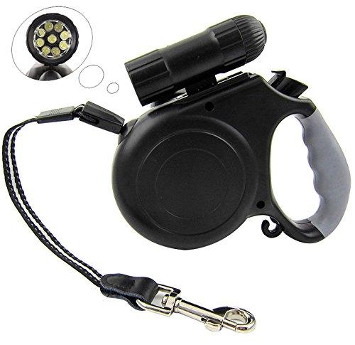 Versenkbare hundeleine, Leetop Einziehbar Hundeleine mit 9-LEDs Licht für Die Ausbildung Gehen, Laufen, Jogging,etc.(Schwarz),One Button Bremse & Lock (Hundeleine Versenkbare Reflektierend)