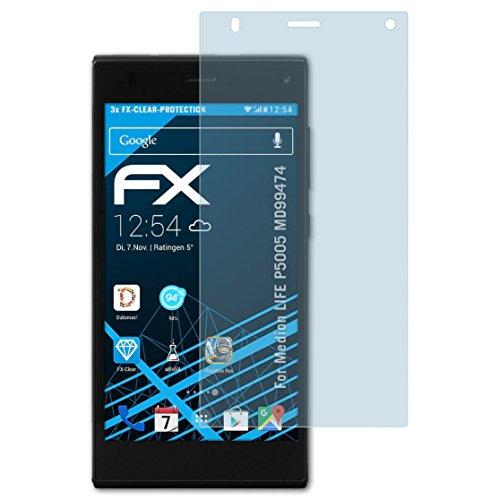 atFolix Schutzfolie kompatibel mit Medion Life P5005 MD99474 Folie, ultraklare FX Bildschirmschutzfolie (3X)