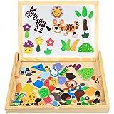 Puzzle en Bois Magnétique enfant Jouets InnooBaby 100 Pièces puzzle Jouets Educatif avec Tableau Noir Réglable Bois Graffiti Double Face