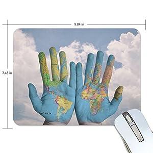 Mi Diario Mapa del mundo mano alfombrilla de ratón 9,84x 7.48x 0,2en, base de goma antideslizante Pad para juegos y oficina