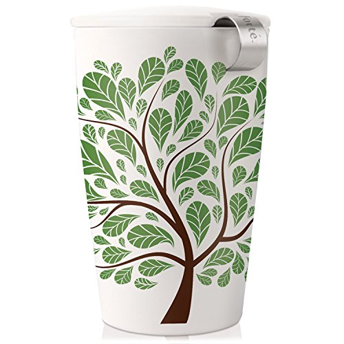 Tea Forté KATI Tazza da tè in ceramica con infusore e tappo, teiera per tè in foglie - Foglie Verdi