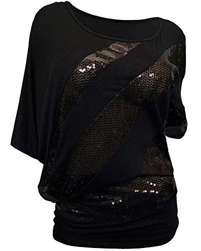 Donne Pipistrello Maglietta Camicie Camicia Blusa Elegante Camicetta Top Nero