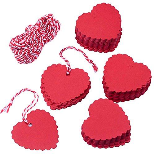 MINGZE 100 Stück rot Herzform Kraftpapier Geschenkanhänger mit 20m Schnur, Hang Tags for Valentine's Day Christmas Wedding Thanksgiving Birthday Holiday Party Favors
