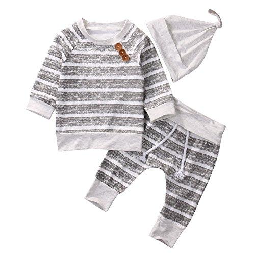 Brightup 2017 Herbst Neugeborene Jungen Mädchen Kleidung Striped Tops T-Shirt Hosen Leggings mit Hut Cap (Kleidung Jungen Mode)