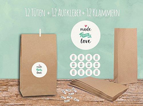 """'Sacchetti regalo Set """"Made with Love bianco con 12buste, adesivi & Mini mollette"""