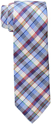 Tommy Hilfiger Men's Textured Plaid Tie, Blue, One Size (Tommy Hilfiger Herren Plaid)