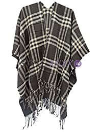 STYLE MIXX Womens Tartan Wrapover Poncho Top Checked Open Fronted Wrap Shawl Blanket Cape
