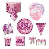 Kit de fournitures pour fête d'anniversaire pour 8 personnes Rose à paillettes 51Xi9HxBmLL