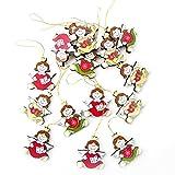 15piccolo angelo ciondolo in rosso verde giallo bianco 4cm alto, senza filo, misurata di Natale decorazione albero di Natale in legno ciondolo albero di Natale Angelo Weihnachtlich con cuore regalo libro