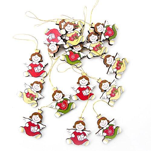15 kleine Holzengel Weihnachten Anhänger in rot grün weiß gelb 4 cm hoch ohne Schnur gemessen Weihnachtsdeko Christbaumanhänger Baumschmuck Engel weihnachtlich mit Herz Geschenk Buch