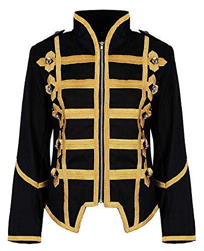 Ro Rox Damen Militärische Parade Emo Punk Schlagzeuger Jacke - Schwarz & Gold (DE 42) (Damen Armee Offizier Kostüm)
