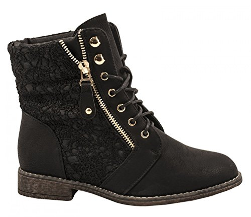 Elara Dames Bottes | Ouvrier Boots | Fermeture Éclair...