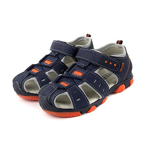 Vertvie enfant Garçon Fille Été Sandales de Marche Extérieur Plates Souple Semelle Velcro Chaussures Sport Bout Fermé Tongs Antidérapant