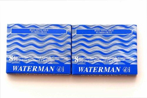 Waterman - 2 Etuis mit 8 Großraum-Tintenpatronen blau, Tinte löschbar.