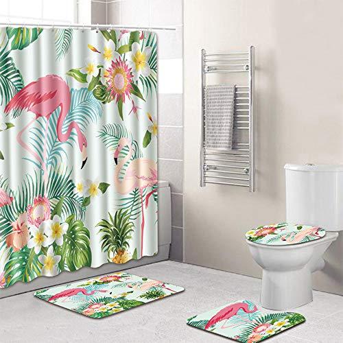 RainBabe 4-teiliges Set Duschvorhang, Duschvorhang, Badteppich, WC-Vorleger, Bedruckt, Motiv Flamingo, Rutschfest, Abdeckung für Toilettensitz, 172 x 180 cm