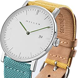Meller Unisex Dag Bimeadow Minimalist Watch with White Analogue Display and Leather Strap