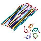 TankerStreet 30 Pack Crayons Flexibles Bendy Crayons Magiques Crayons Mous avec Gomme Couleur Magic Crayons Pliables pour Enfants Party Bags Fun Equipment École DIY Jouets 18cm Couleur Aléatoire