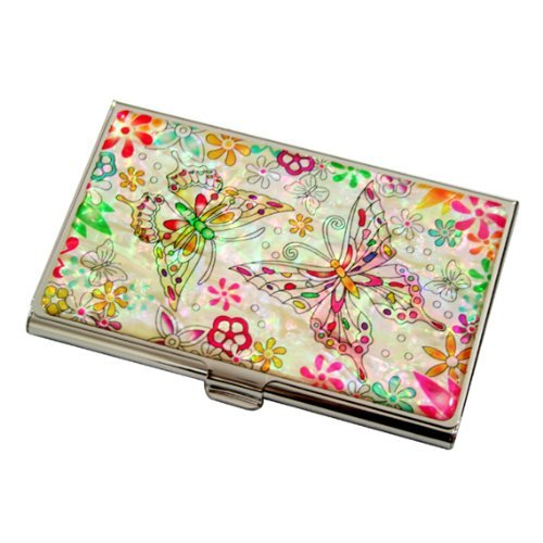Mother Of Pearl Butterfly Flower Design Womens Business Credit Name Id Card Holder Case Metal Stainless Steel Engraved Slim Purse Pocket Cash Money