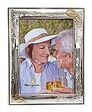Cornice Anniversario Matrimonio, 25°, 50°, con Fedi | Argento bilamina | 2R Argenti (18x24 C)
