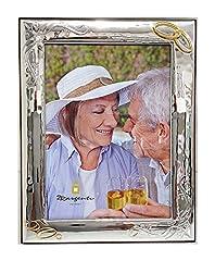 Idea Regalo - Cornice Anniversario Matrimonio, 25°, 50°, con Fedi | Argento bilamina | 2R Argenti (18x24 C)