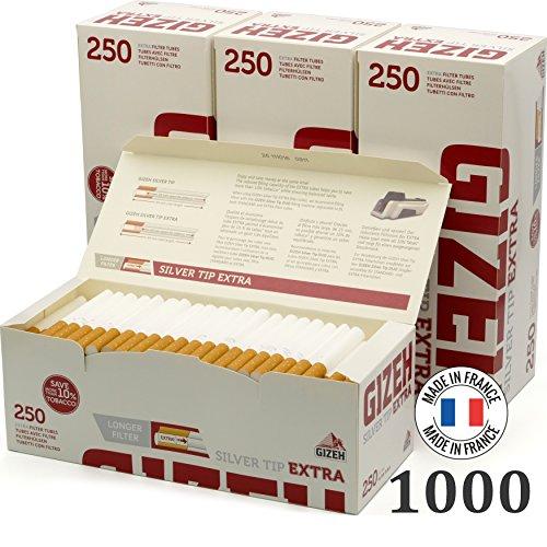 Gizeh tubetti Silver Tip Filtro Extra Lungo - 4 Confezioni da 250 pz