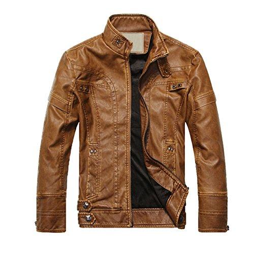REFURBISHHOUSE Fashion Maenner Leder Motorrad Maentel Jacken gewaschenes Leder Mantel Khaki Groesse L - Motorrad Jacke Mantel