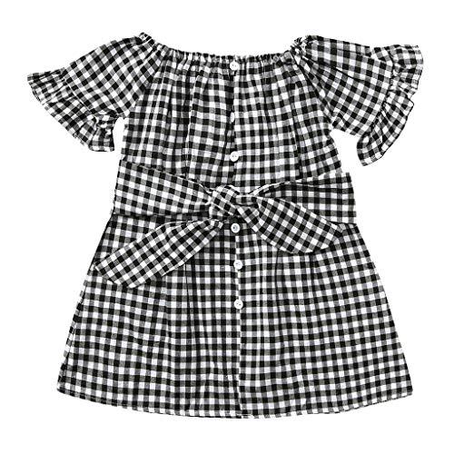 sunnymi  ® 0-4 Jahre Kleid Baby Mädchen Gekräuselten Karierten Gürtel Prinzessin Partykleid Sommer Sommerkleid