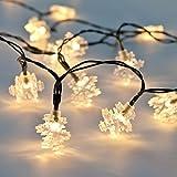 Außen/Innen Schneeflocken Lichterkette warmweiß, batteriebetrieben, mit Timer, 50 LEDs, 5m, von Festive Lights