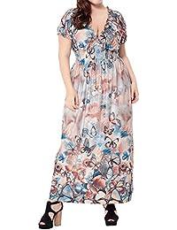 Donna Vestiti Lunghi Estivi Stampa Eleganti da Cerimonia Collo V Manica  Corta e Ampio per Nozze Vacanza… ad1f2e97510
