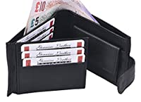 ES Traders Wallet for Men Boys Designer Genuine Leather Bifold Card Classic Sports Credit Tri Retro Coin Pouch, 12 cm, Black