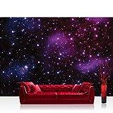 Vlies Fototapete 400x280 cm PREMIUM PLUS Wand Foto Tapete Wand Bild Vliestapete - Sternenhimmel Tapete Galaxy Sterne Weltraum lila - no. 499
