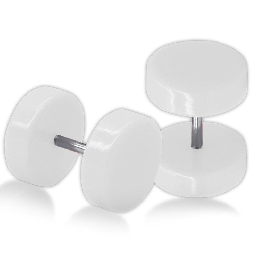 SoulCats� 1 paio Fakeplugs Fakeplug Spina falsa ORECCHINI, Dimensioni: 10 mm, colore: bianco