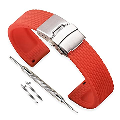 Vinband Uhrenarmband Wasserfest Ersatzarmband Gummi Armbanduhr Herren Damen Schwarz - 18mm, 20mm, 22mm, 24mm Kautschuk Uhrenband mit Schnellwechselstifte & Faltschließe (24mm, Red)