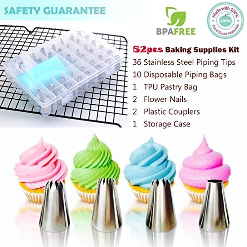 Cake decorating supplies 52 pezzi per decorare biscotti cupcake baking supplies kit di strumenti glassa glassa piping punte con accoppiatore, flower nail, pasticceria borse set