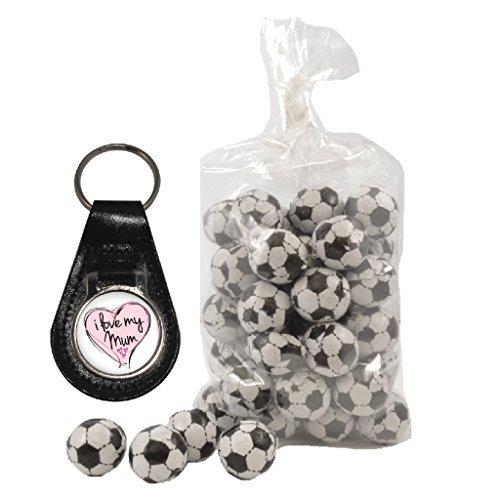Preisvergleich Produktbild I love my Mum Rosa Herz Schlüsselanhänger aus Leder und 200g Beutel von Milch Schokolade Fußbälle