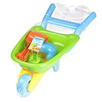 Guilty Gadgets Wheelbarrow Gardening and Seaside Beach Play Set for Outdoor Activities with Accessories including Bucket, Spade, Rake