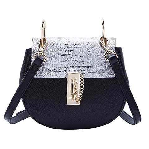 BOYATU Genunie Leather Shoulder Bag Top Handbag Messenger Package Cute Pig Tote (Silver)