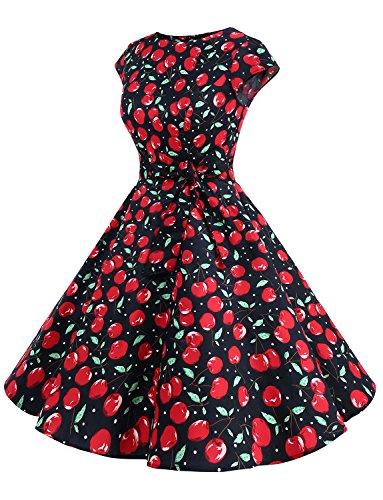 Dressystar Damen Vintage 50er Cap Sleeves Dot Einfarbig Rockabilly Swing Kleider Schwarz Große Kirsche