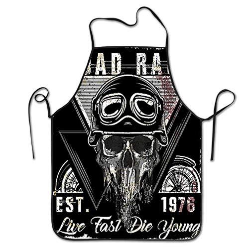 zexuandiy Aprons Bib for Kitchen Indoor Restaurant Cleaning Serving 20.4 * 28.3 inch Skull Vintage Motorcycle Logo Emblem Design Fashion Style - Camo Emblem