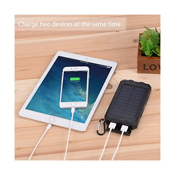 Power Bank Solar Charger 10000mAh Portable External Backup Battery Pack Dual USB Solar Phone Charger with 2LED Light for iPhone, iPad, Samsung, Android and other Smart Devices 3
